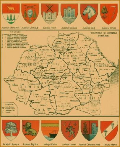 Harta României, ținuturi și județe