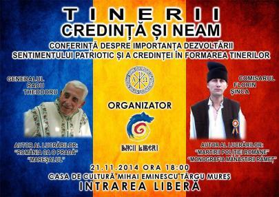 tricolor romania conferinta patriotism 21 nov 2014 Targu Mureș importanța sentimentului patriotic și a credinței în dezvoltarea tinerilor nationalism