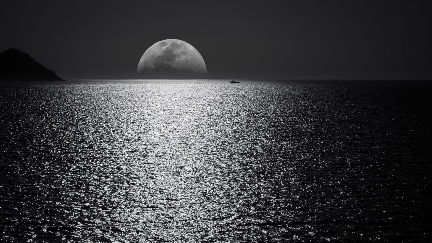 white-and-black-moon-with-black-skies-and-body-of-water-748626